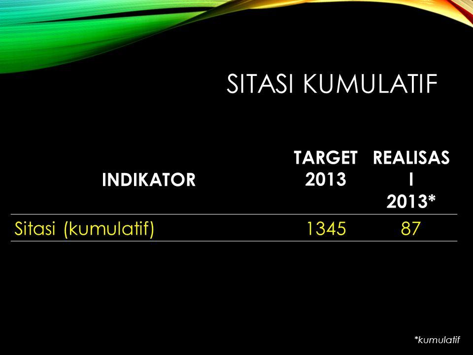 SITASI KUMULATIF INDIKATOR TARGET 2013 REALISASI 2013*