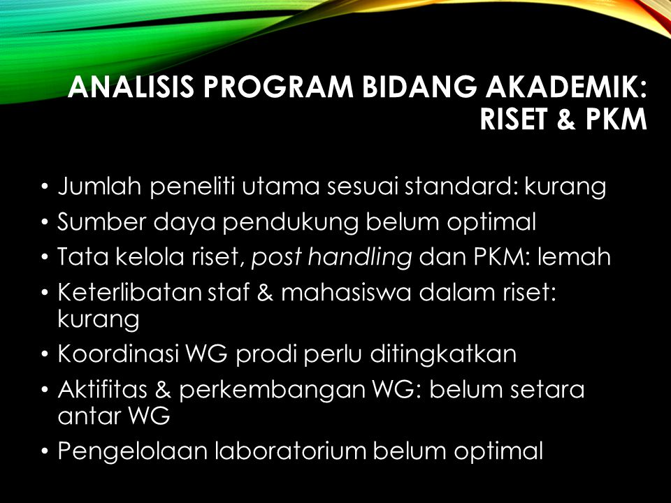 ANALISIS PROGRAM BIDANG AKADEMIK: Riset & PKM