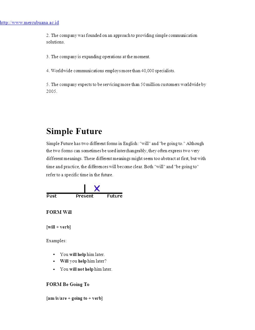Simple Future http://www.mercubuana.ac.id FORM Will FORM Be Going To