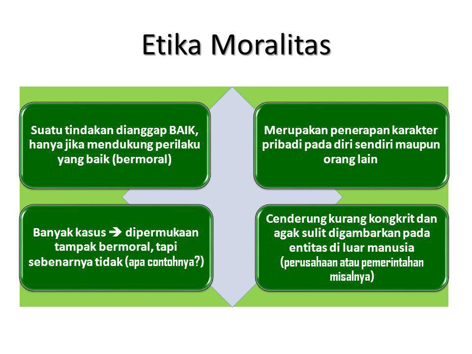 Etika Moralitas Suatu tindakan dianggap BAIK, hanya jika mendukung perilaku yang baik (bermoral)