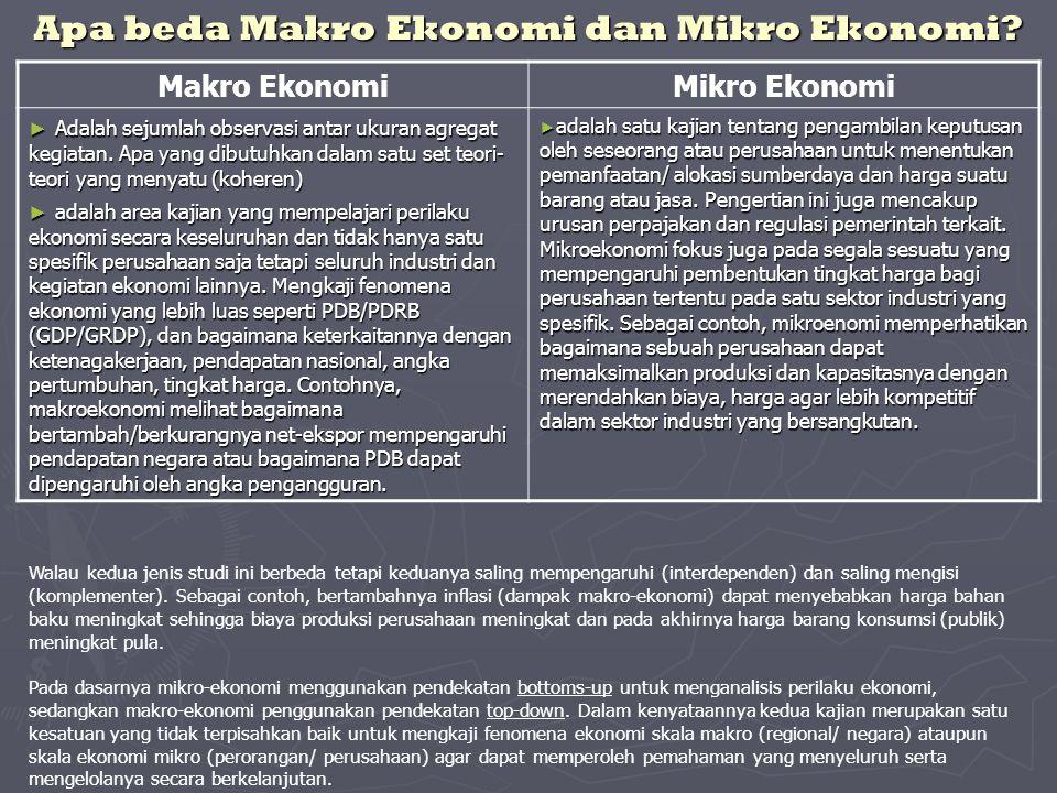 Apa beda Makro Ekonomi dan Mikro Ekonomi