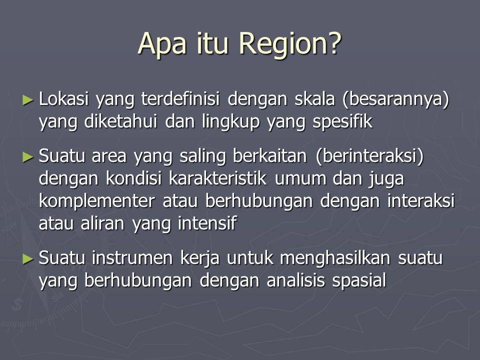Apa itu Region Lokasi yang terdefinisi dengan skala (besarannya) yang diketahui dan lingkup yang spesifik.