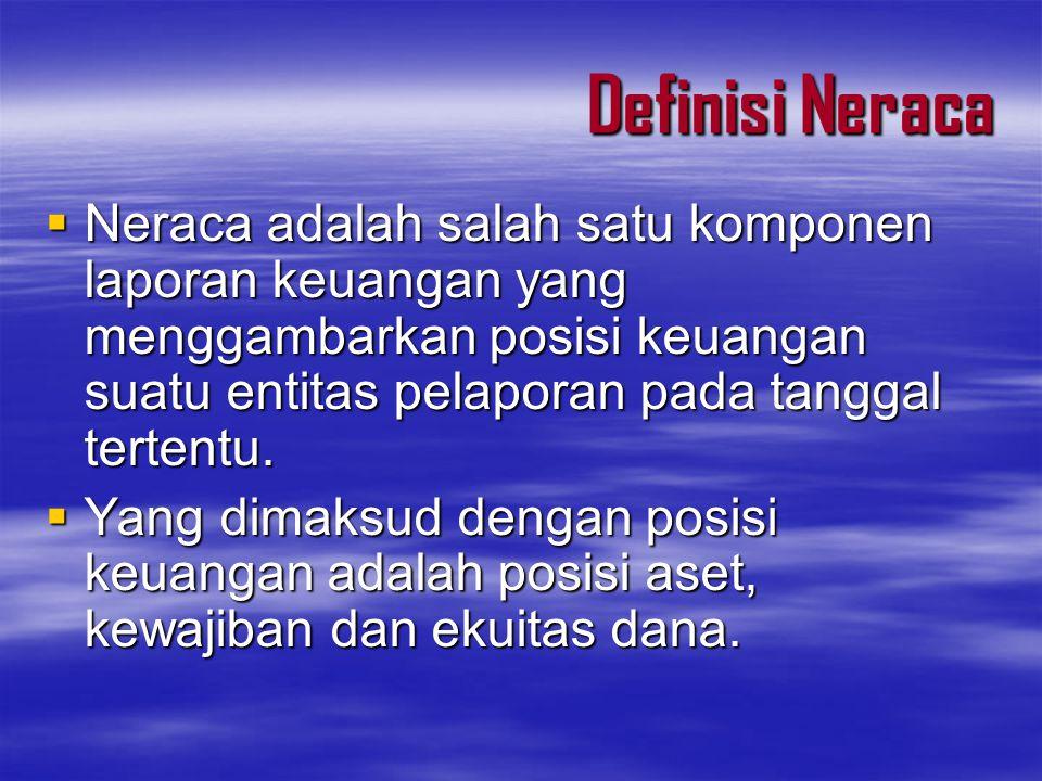 Definisi Neraca Neraca adalah salah satu komponen laporan keuangan yang menggambarkan posisi keuangan suatu entitas pelaporan pada tanggal tertentu.