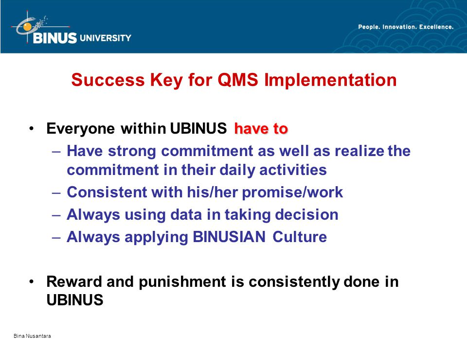 Success Key for QMS Implementation