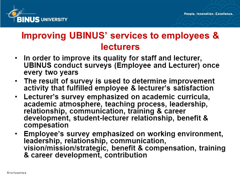 Improving UBINUS' services to employees & lecturers