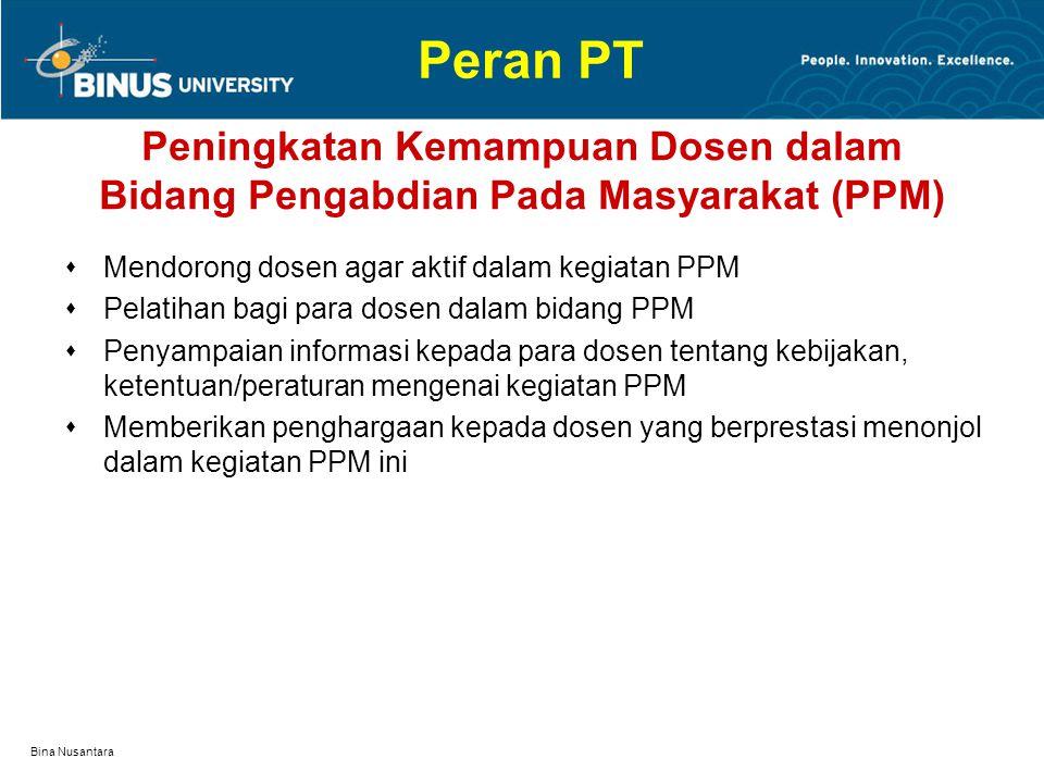 Peran PT Peningkatan Kemampuan Dosen dalam Bidang Pengabdian Pada Masyarakat (PPM) Mendorong dosen agar aktif dalam kegiatan PPM.