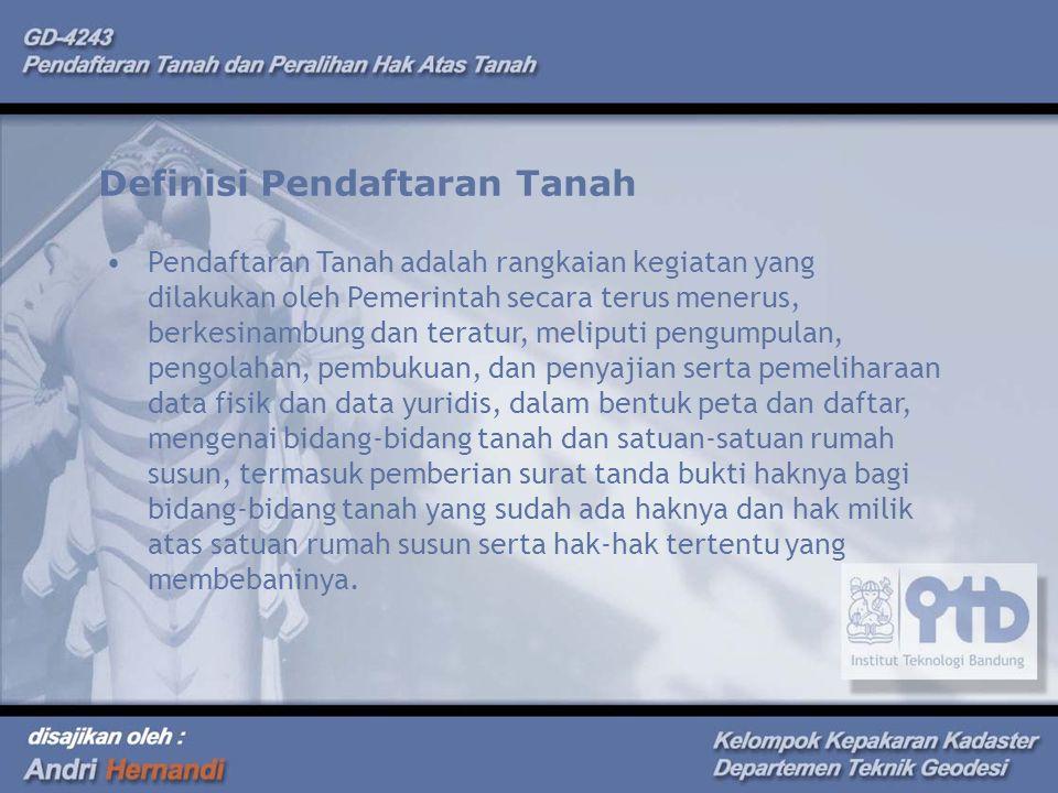 Definisi Pendaftaran Tanah