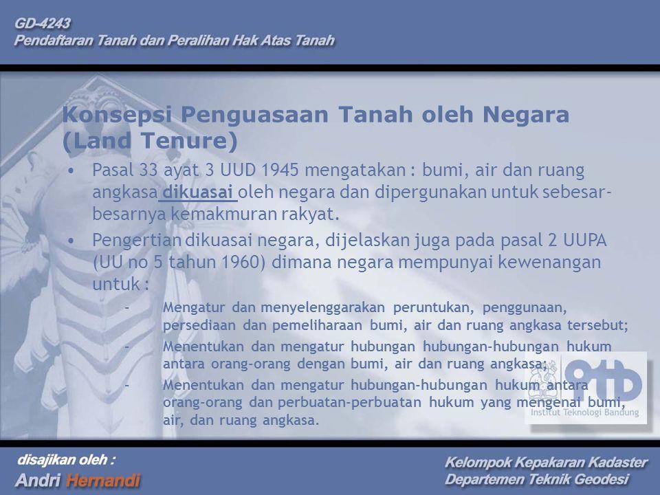 Konsepsi Penguasaan Tanah oleh Negara (Land Tenure)