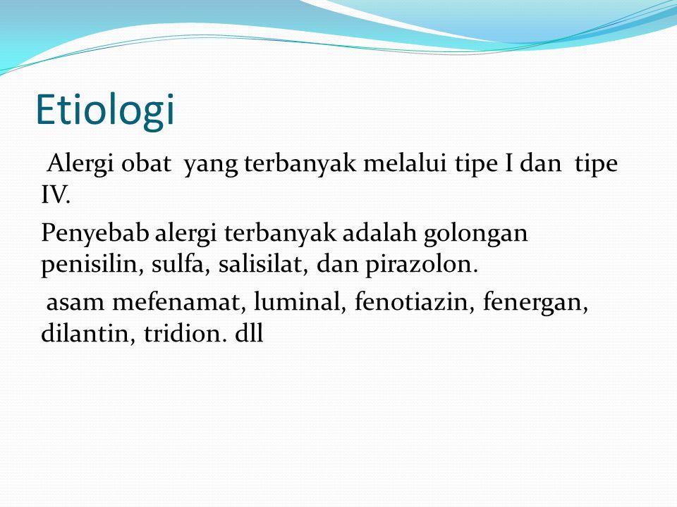 Etiologi Alergi obat yang terbanyak melalui tipe I dan tipe IV.