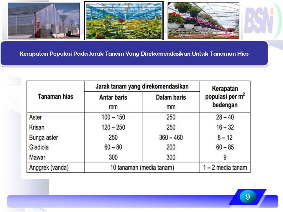 Kerapatan Populasi Pada Jarak Tanam Yang Direkomendasikan Untuk Tanaman Hias