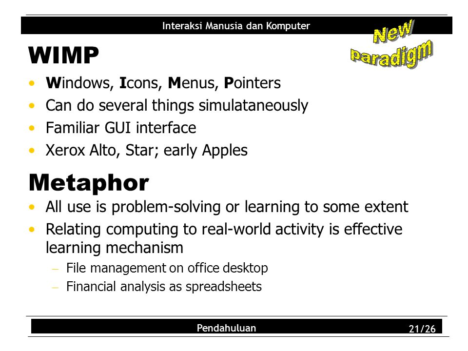 WIMP Metaphor New paradigm Windows, Icons, Menus, Pointers