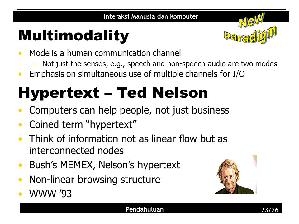 Multimodality Hypertext – Ted Nelson New paradigm