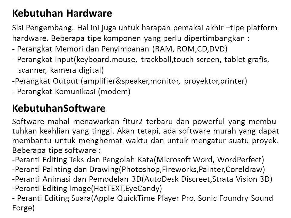 Kebutuhan Hardware KebutuhanSoftware