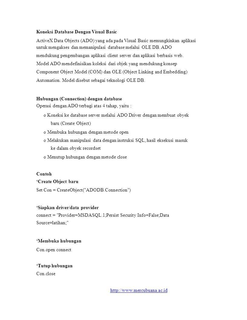 Koneksi Database Dengan Visual Basic