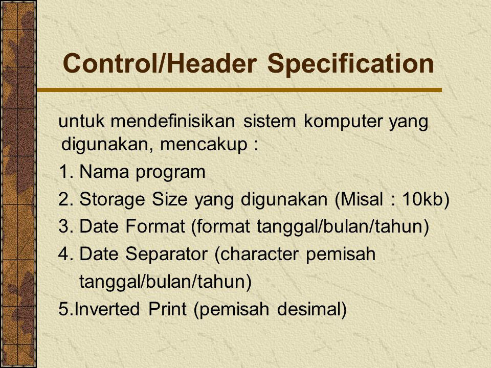 Control/Header Specification