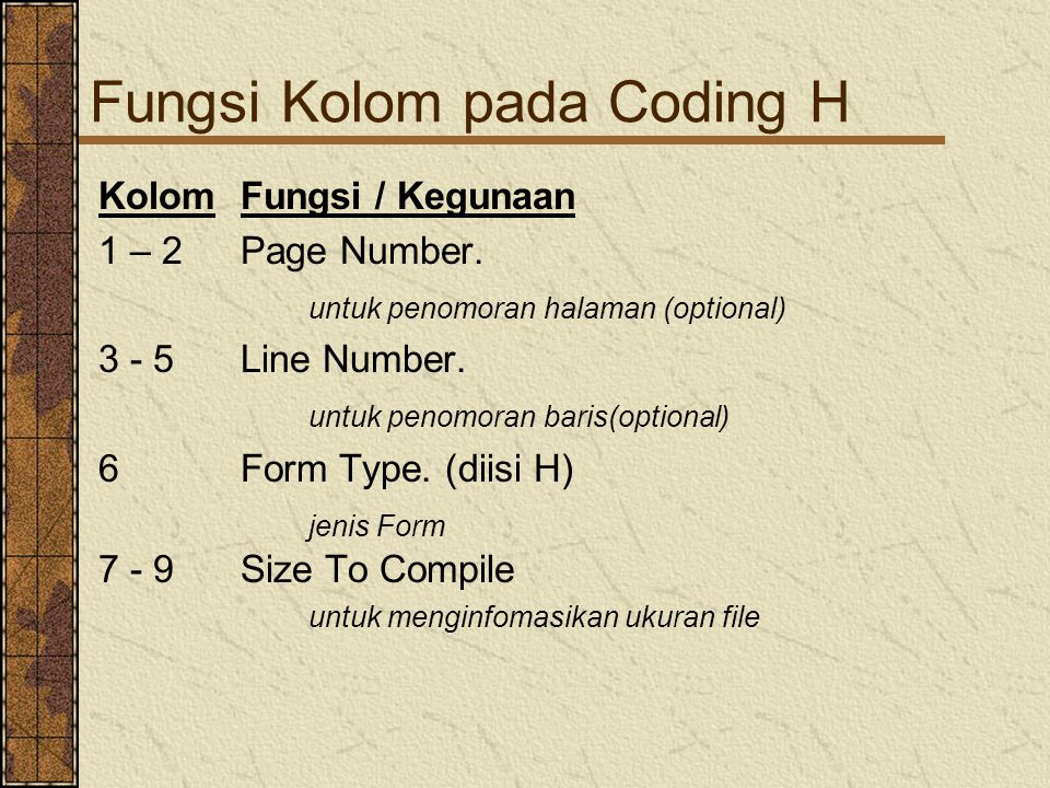 Fungsi Kolom pada Coding H