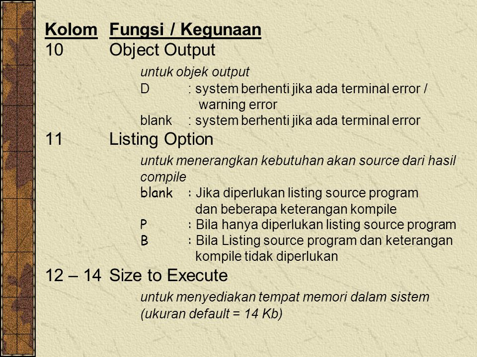 Kolom Fungsi / Kegunaan 10 Object Output untuk objek output