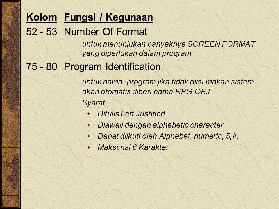 Kolom Fungsi / Kegunaan 52 - 53 Number Of Format