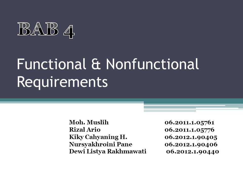 Functional & Nonfunctional Requirements