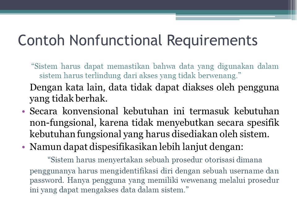 Contoh Nonfunctional Requirements