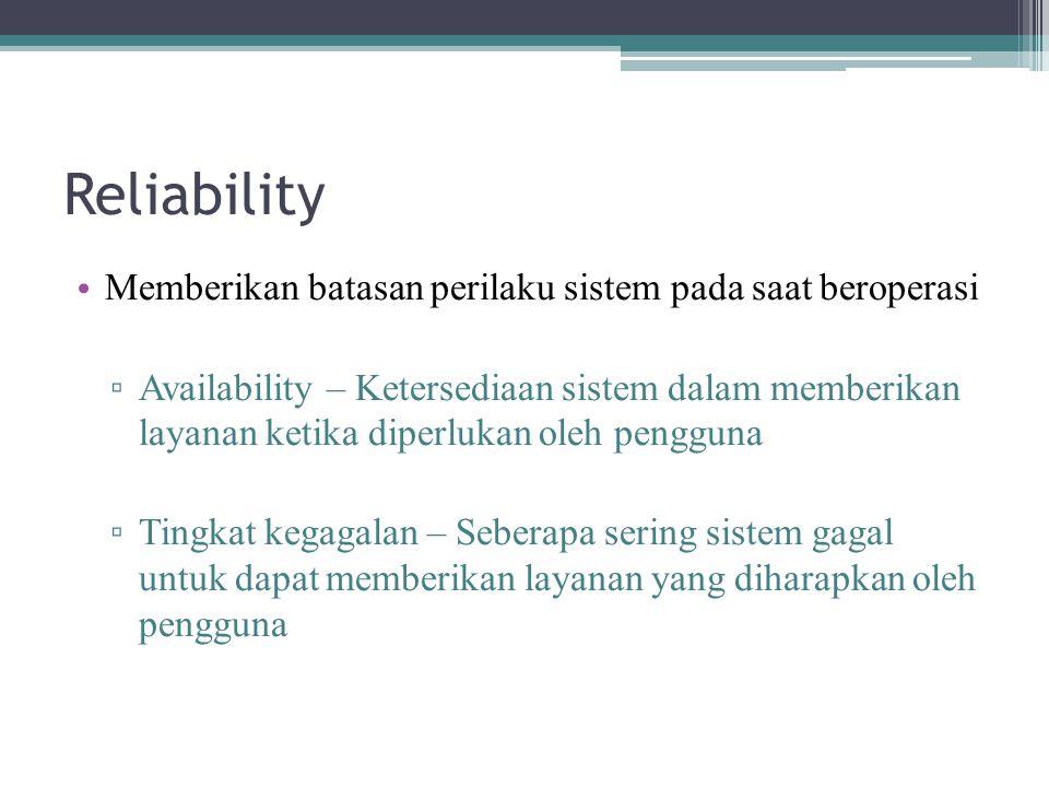 Reliability Memberikan batasan perilaku sistem pada saat beroperasi