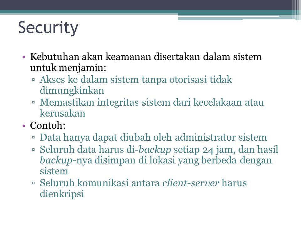 Security Kebutuhan akan keamanan disertakan dalam sistem untuk menjamin: Akses ke dalam sistem tanpa otorisasi tidak dimungkinkan.