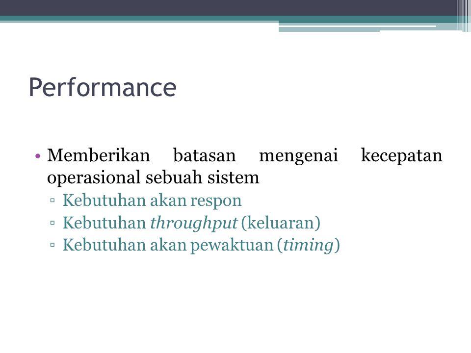 Performance Memberikan batasan mengenai kecepatan operasional sebuah sistem. Kebutuhan akan respon.
