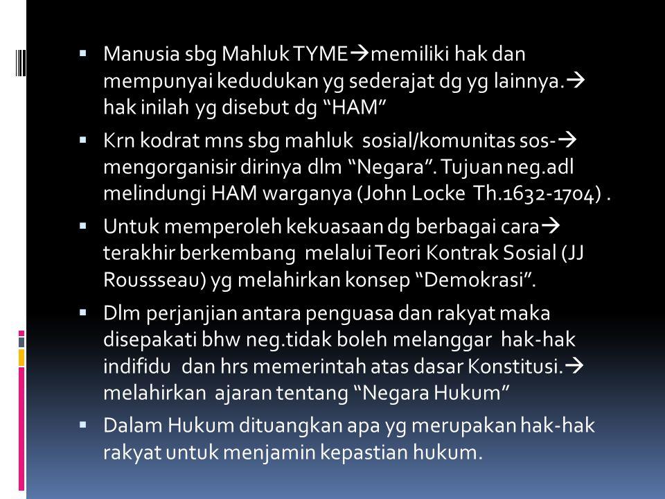 Manusia sbg Mahluk TYMEmemiliki hak dan mempunyai kedudukan yg sederajat dg yg lainnya. hak inilah yg disebut dg HAM