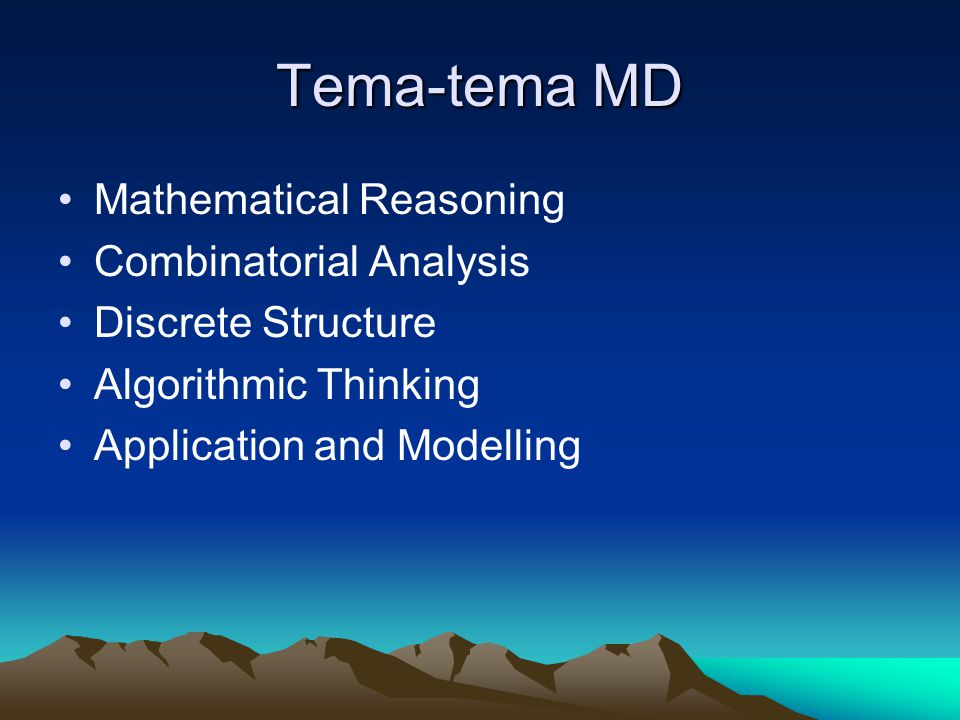 Tema-tema MD Mathematical Reasoning Combinatorial Analysis