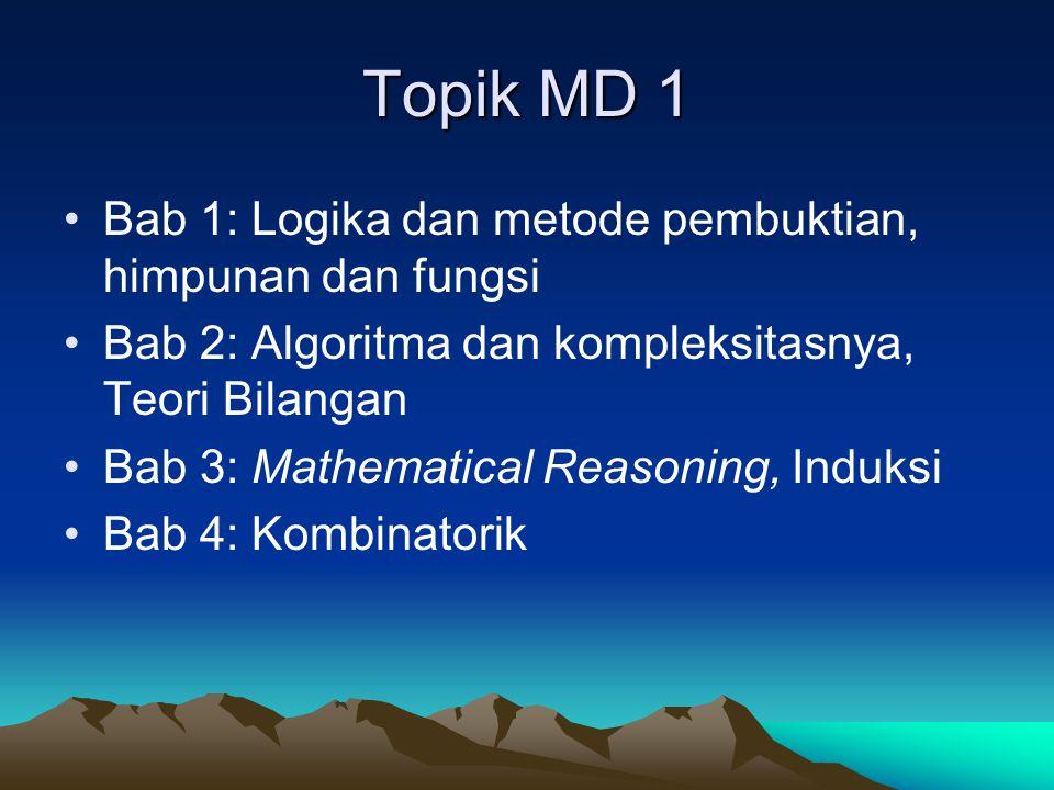 Topik MD 1 Bab 1: Logika dan metode pembuktian, himpunan dan fungsi