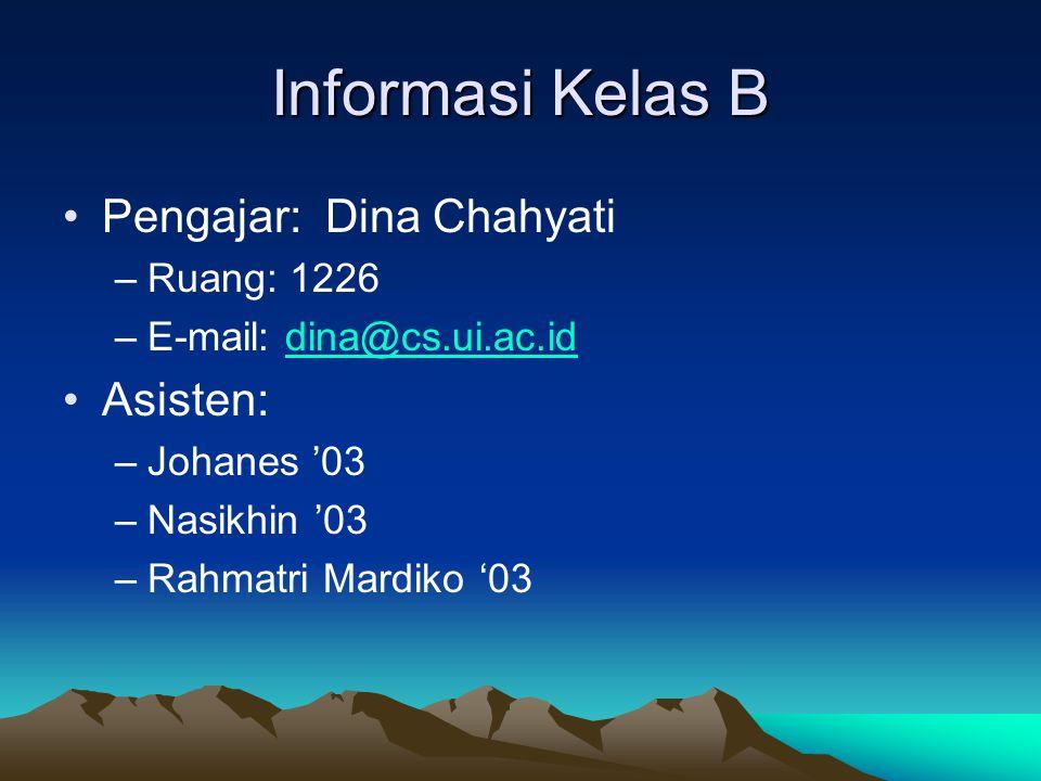 Informasi Kelas B Pengajar: Dina Chahyati Asisten: Ruang: 1226