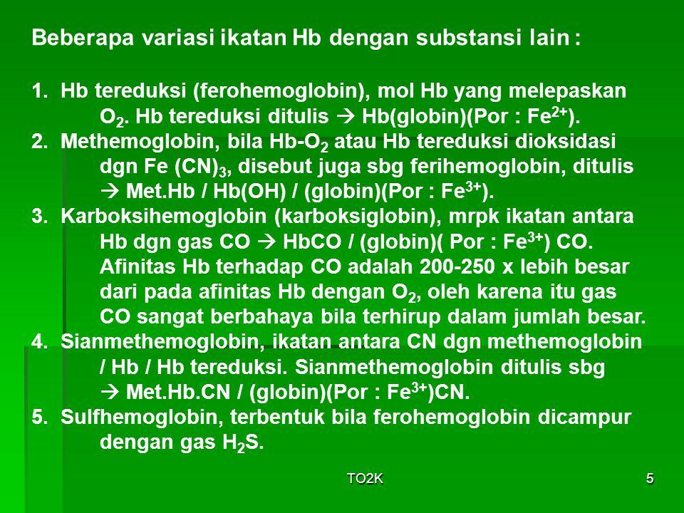Beberapa variasi ikatan Hb dengan substansi lain :