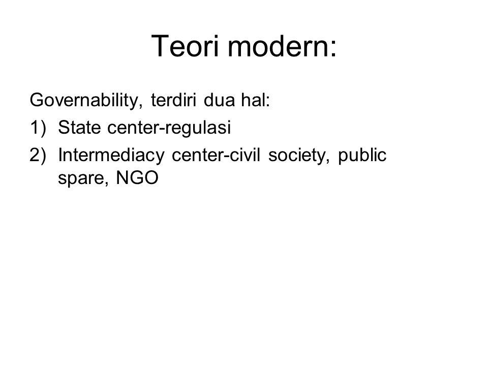 Teori modern: Governability, terdiri dua hal: State center-regulasi