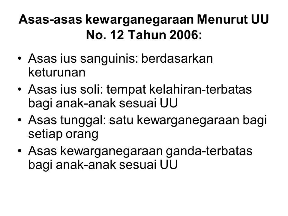 Asas-asas kewarganegaraan Menurut UU No. 12 Tahun 2006: