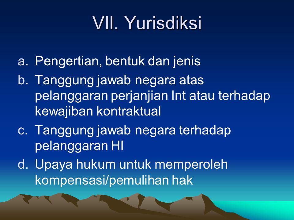 VII. Yurisdiksi Pengertian, bentuk dan jenis