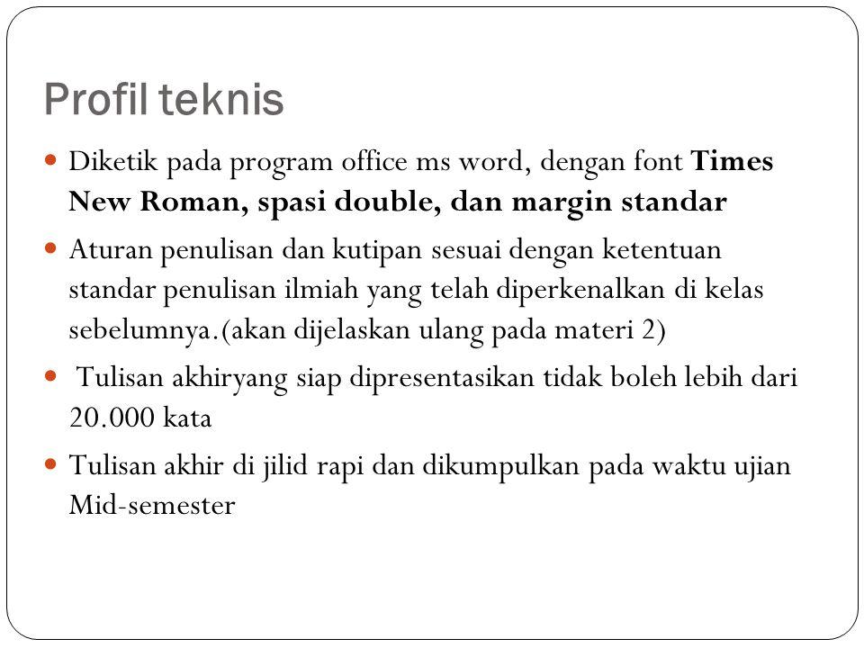 Profil teknis Diketik pada program office ms word, dengan font Times New Roman, spasi double, dan margin standar.
