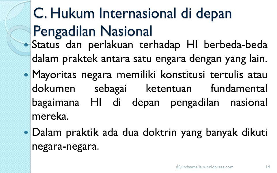 C. Hukum Internasional di depan Pengadilan Nasional