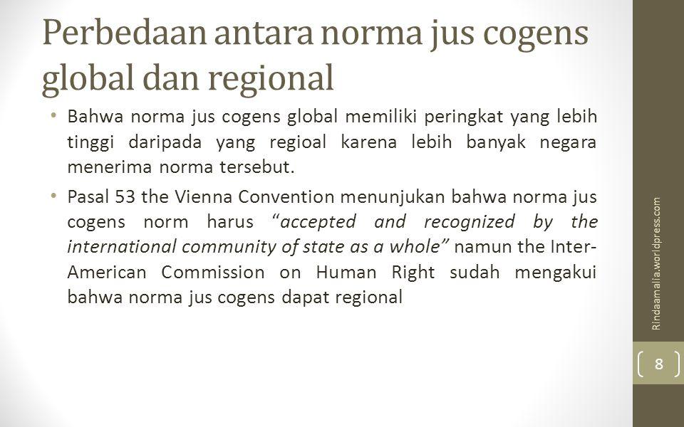Perbedaan antara norma jus cogens global dan regional