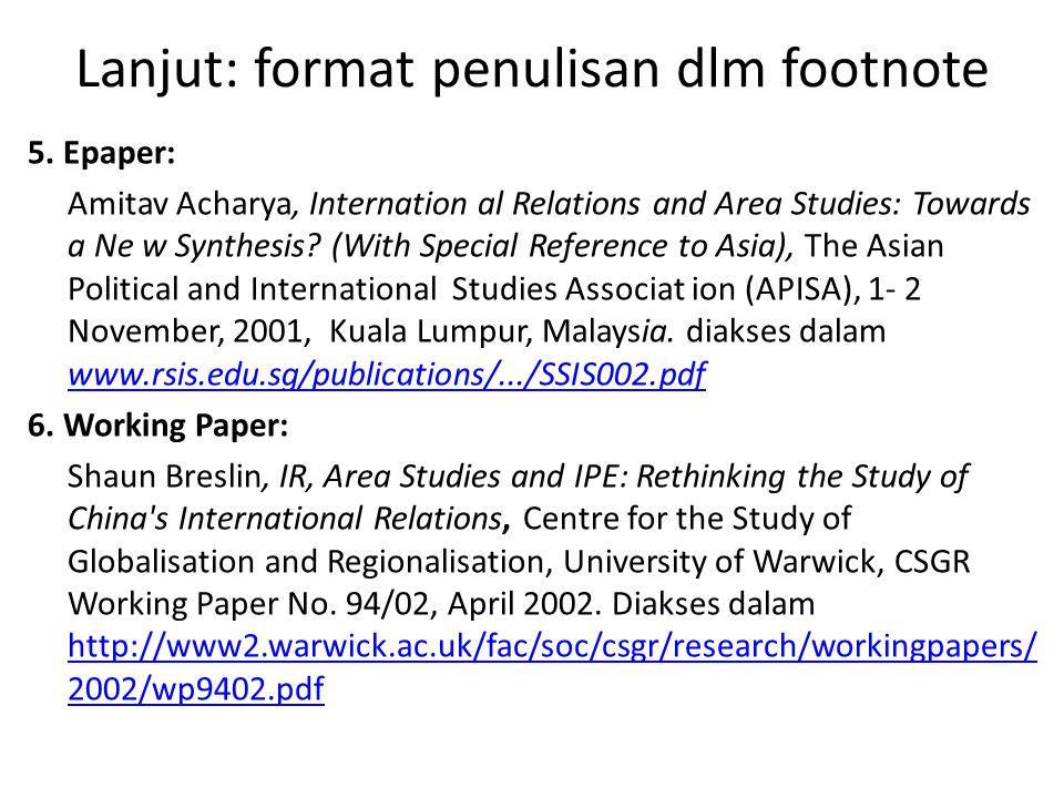 Lanjut: format penulisan dlm footnote