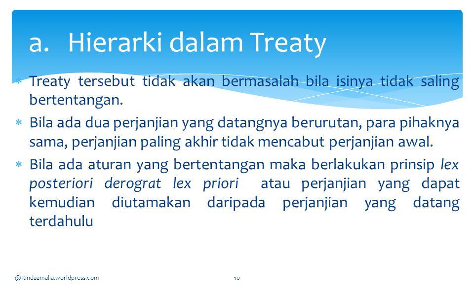 Hierarki dalam Treaty Treaty tersebut tidak akan bermasalah bila isinya tidak saling bertentangan.