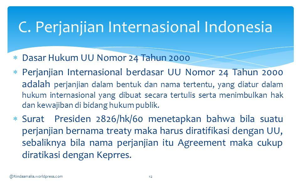 C. Perjanjian Internasional Indonesia