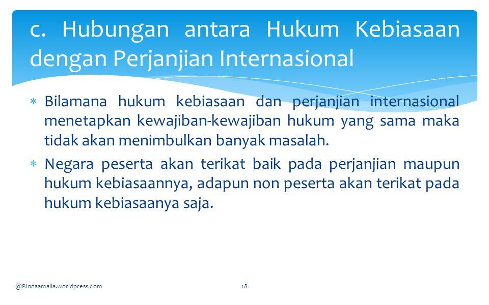 c. Hubungan antara Hukum Kebiasaan dengan Perjanjian Internasional