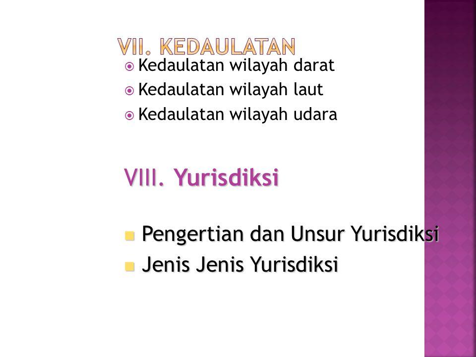 VIII. Yurisdiksi VII. Kedaulatan Pengertian dan Unsur Yurisdiksi
