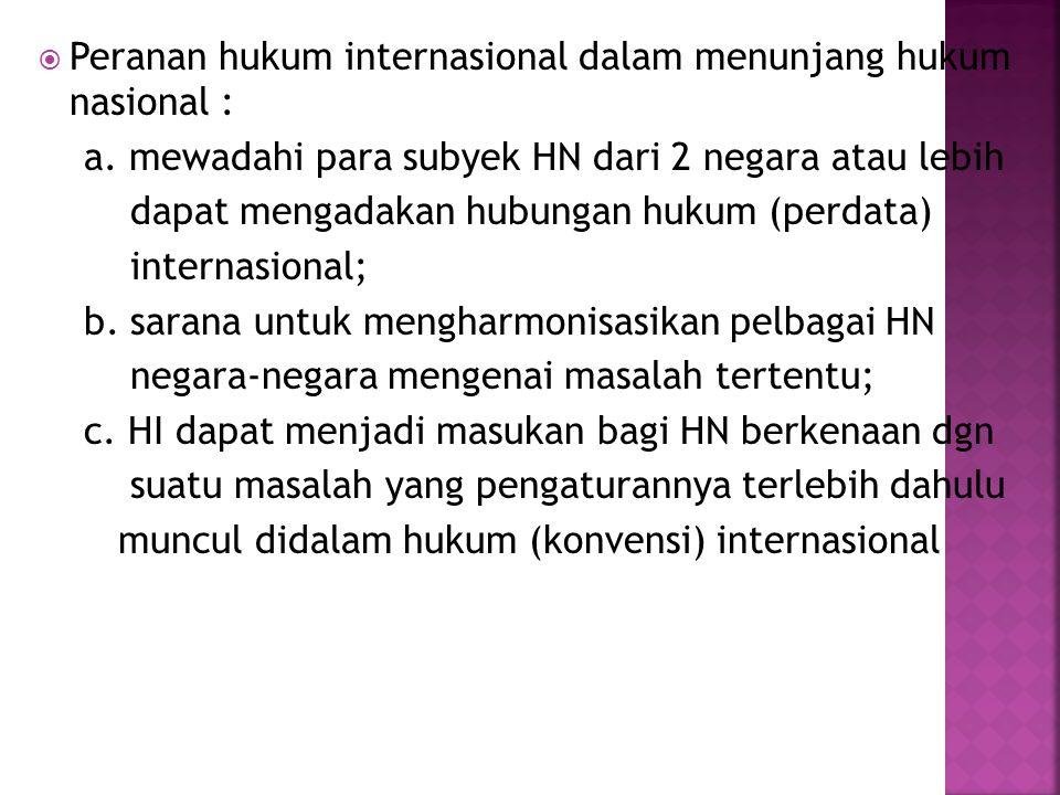 Peranan hukum internasional dalam menunjang hukum nasional :