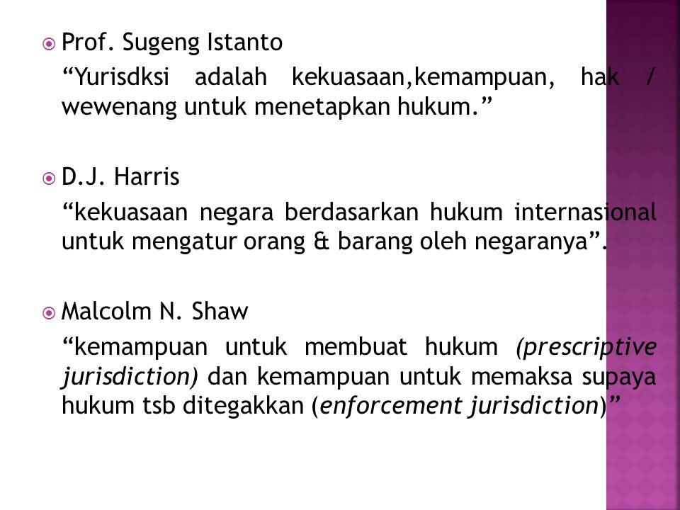 Prof. Sugeng Istanto Yurisdksi adalah kekuasaan,kemampuan, hak / wewenang untuk menetapkan hukum.