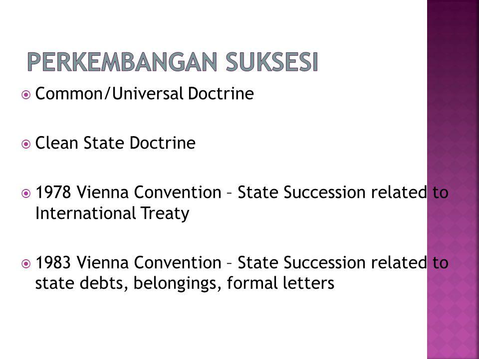 Perkembangan Suksesi Common/Universal Doctrine Clean State Doctrine