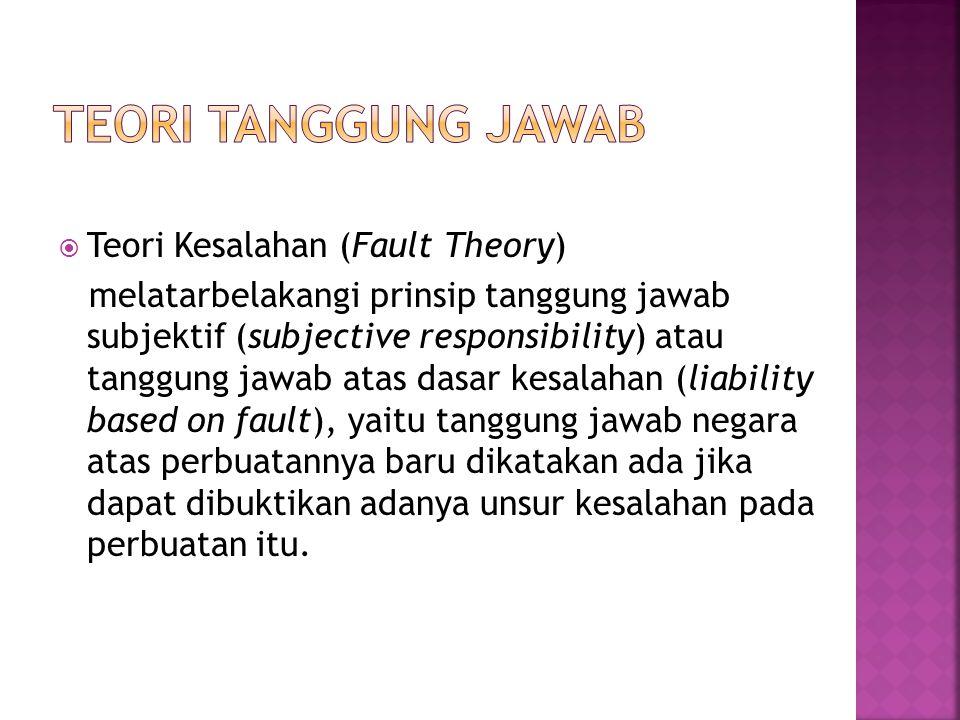 Teori tanggung jawab Teori Kesalahan (Fault Theory)