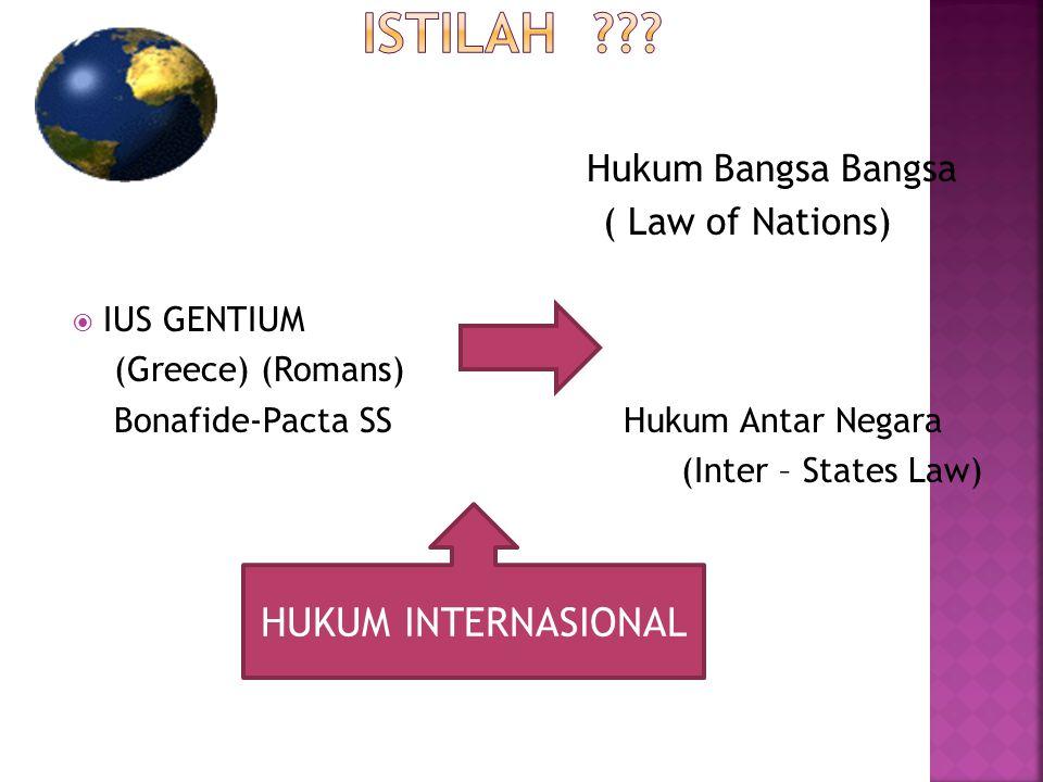 ISTILAH HUKUM INTERNASIONAL ( Law of Nations) Hukum Bangsa Bangsa