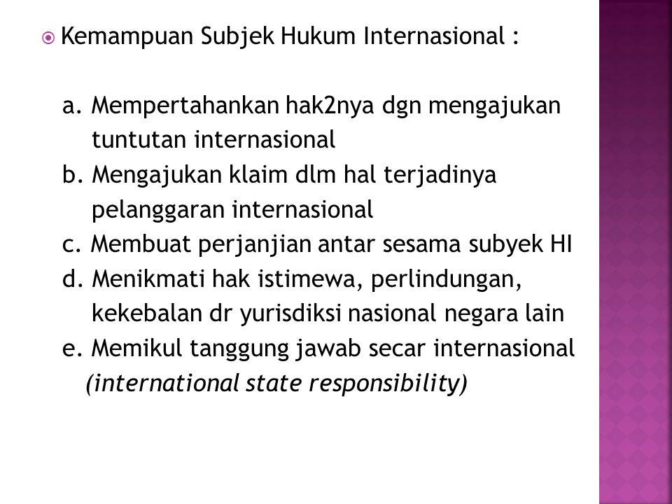 Kemampuan Subjek Hukum Internasional :