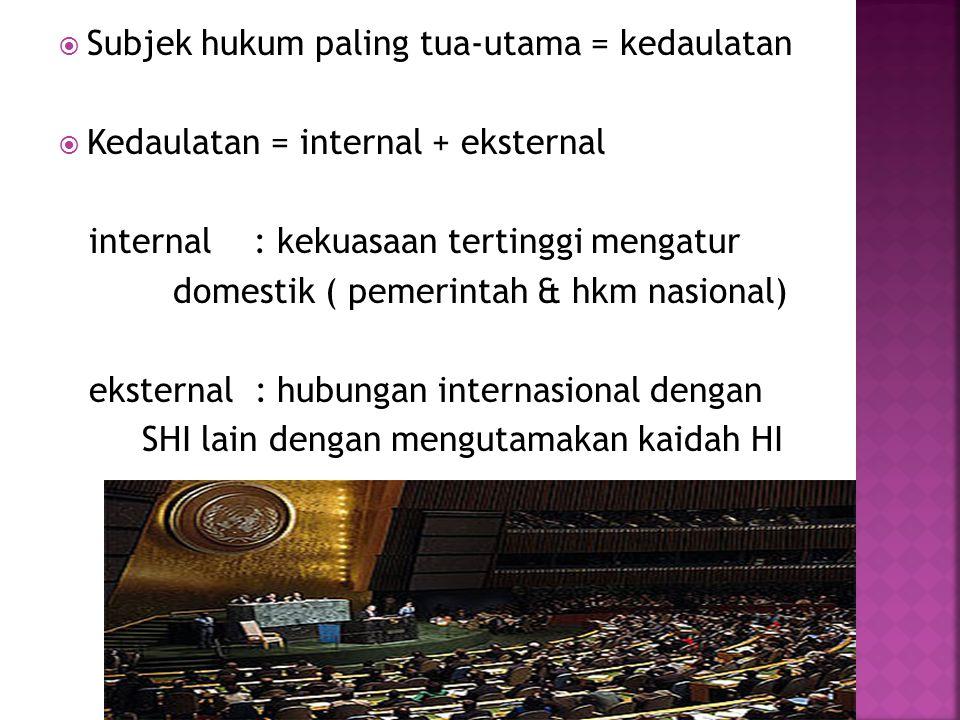Subjek hukum paling tua-utama = kedaulatan